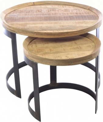 Ancient Mariner Old Empire Mango Wood Round Nest of Tables