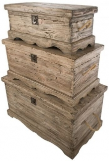 Ancient mariner Vintage Weathered Pine Set of 3 Chest