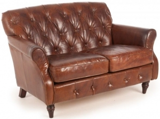 Ancient Mariner Vintage Leather Button Back Sofa