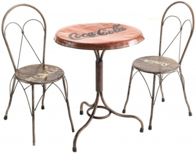 Ancient Mariner Vintage Metal Round Bistro Table with 2 Bistro Chairs
