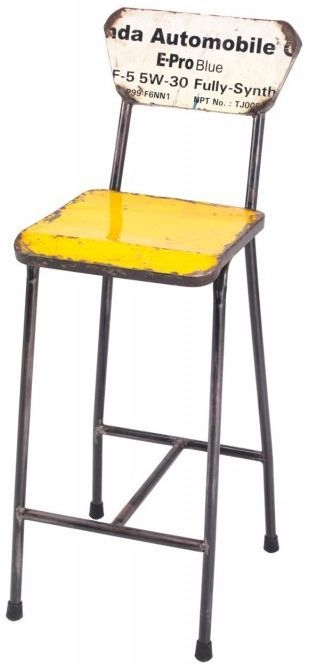 Ancient Mariner Vintage Metal Bar Stool with Back