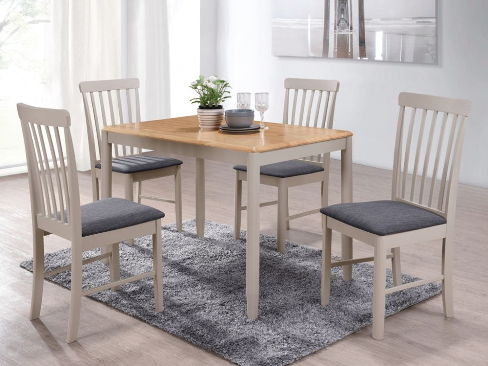 Altona Dining Table and 4 Chairs - Oak and Stone Grey Painted