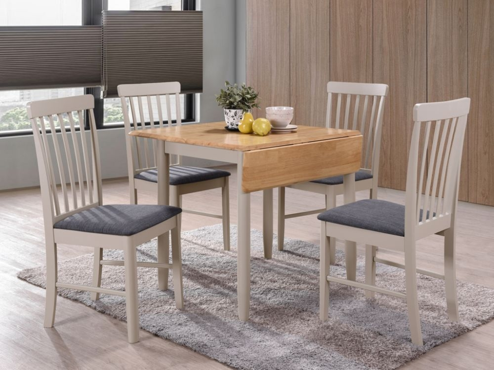 Altona Drop Leaf Extending Dining Table - Oak and Stone Grey Painted