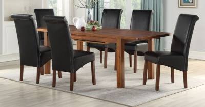 Andorra Dark Acacia Large Extending Dining Table and 6 Black Sophie Chairs