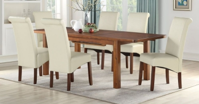 Andorra Dark Acacia Large Extending Dining Table and 6 Cream Sophie Chairs