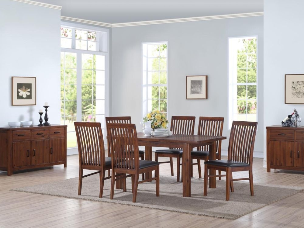 Andorra Dark Acacia Large Extending Dining Table and 4 Strathmore Chairs