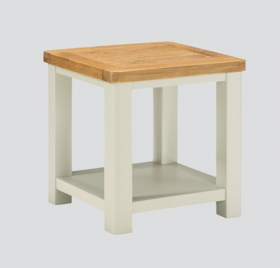 Andorra End Table - Oak and Stone Painted