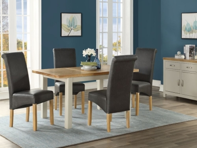 Andorra Butterfly Extending Dining Table and 4 Chairs - Oak and Stone Painted