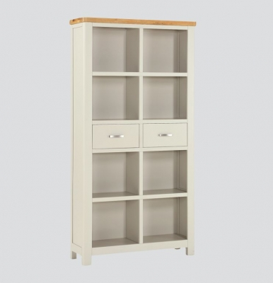 Andorra Tall Bookcase - Oak and Stone Painted