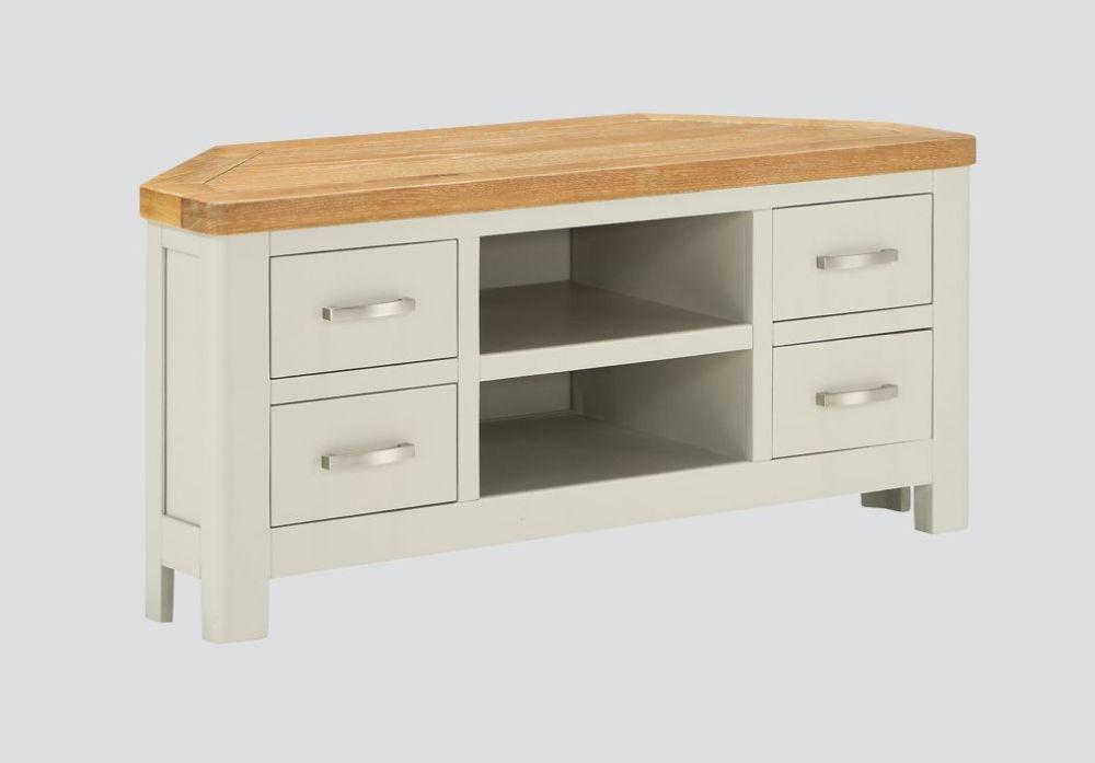 Andorra Corner TV Unit - Oak and Stone Painted