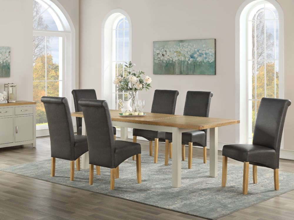 Andorra Large Butterfly Extending Dining Table And 6 Chairs Oak And Stone Painted Cfs Furniture Uk