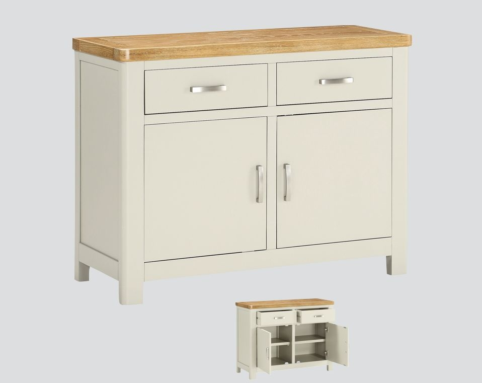 Product photograph showing Andorra Sideboard - Oak And Stone Painted