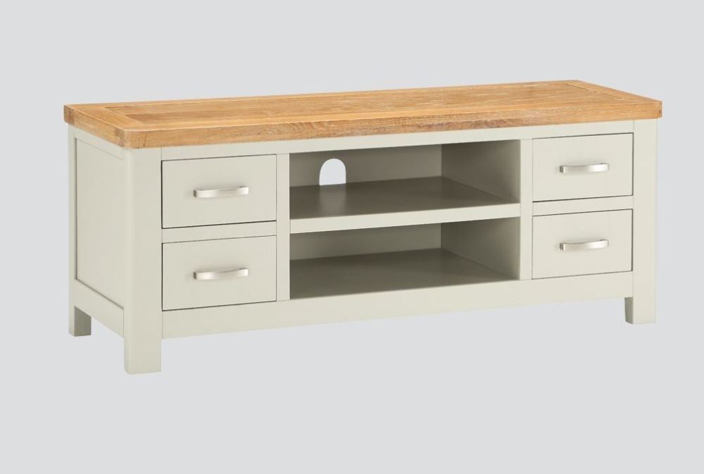 Andorra Straight TV Unit - Oak and Stone Painted