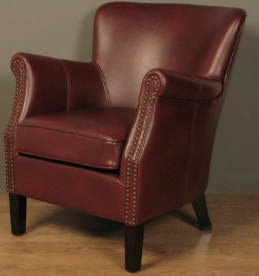 Harlow Burgundy Leather Armchair