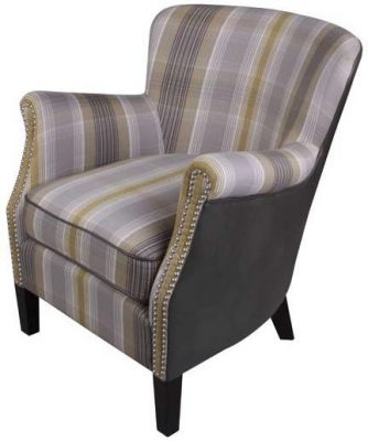Harlow Yellow Check Fabric Armchair