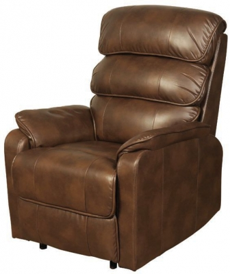 Harmony Two Tone Tan Faux Leather Recliner Chair