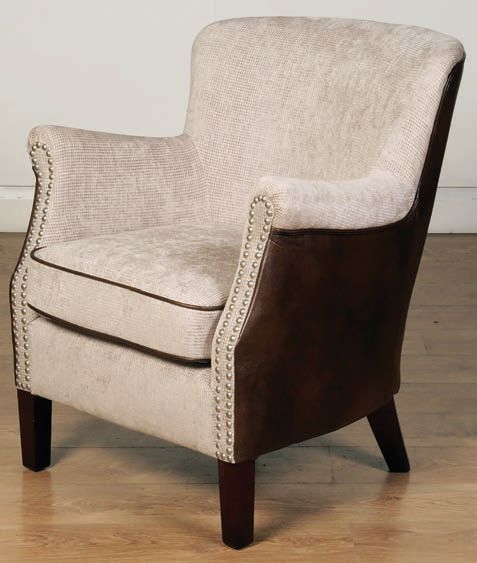 Harlow Tan and Beige Fusion Fabric Armchair