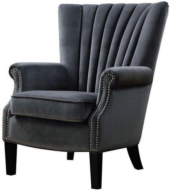 Stratford Grey Velvet Armchair