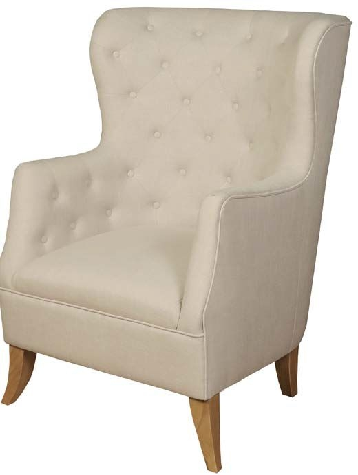 York Beige Fabric Armchair