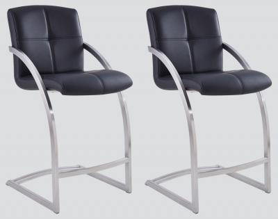 Aspen Black Leather and Chrome Barstool (Pair)