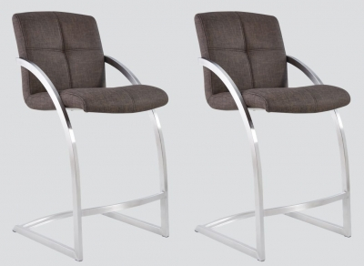 Aspen Brown Woven Fabric and Chrome Barstool (Pair)
