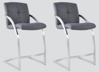 Aspen Grey Woven Fabric and Chrome Barstool (Pair)