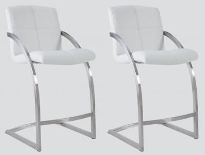 Aspen White Leather and Chrome Barstool (Pair)