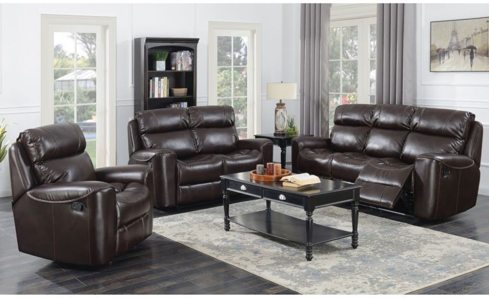Brookland Chestnut Leather Recliner Sofa Suite