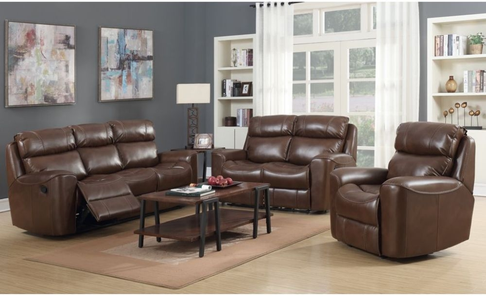 Brookland Tan Leather Recliner Sofa Suite