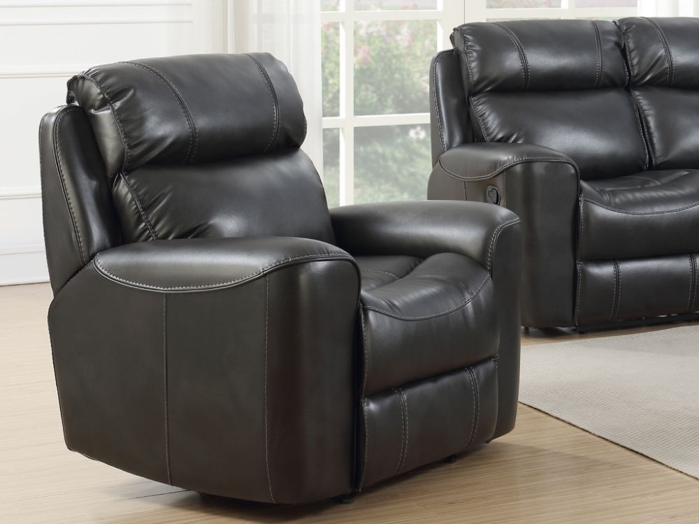 Brookland Two Tone Grey Leather Recliner Armchair