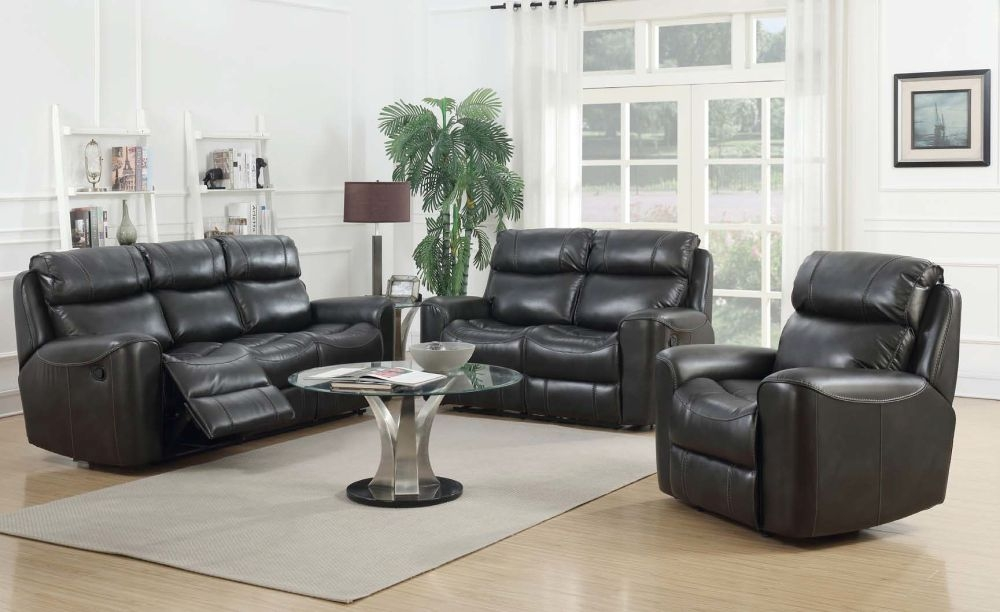 Brookland Two Tone Grey Leather Recliner Sofa Suite