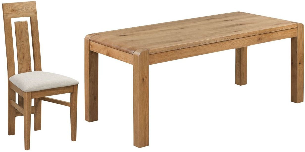 Capri Oak Large Dining Table and 8 Chairs