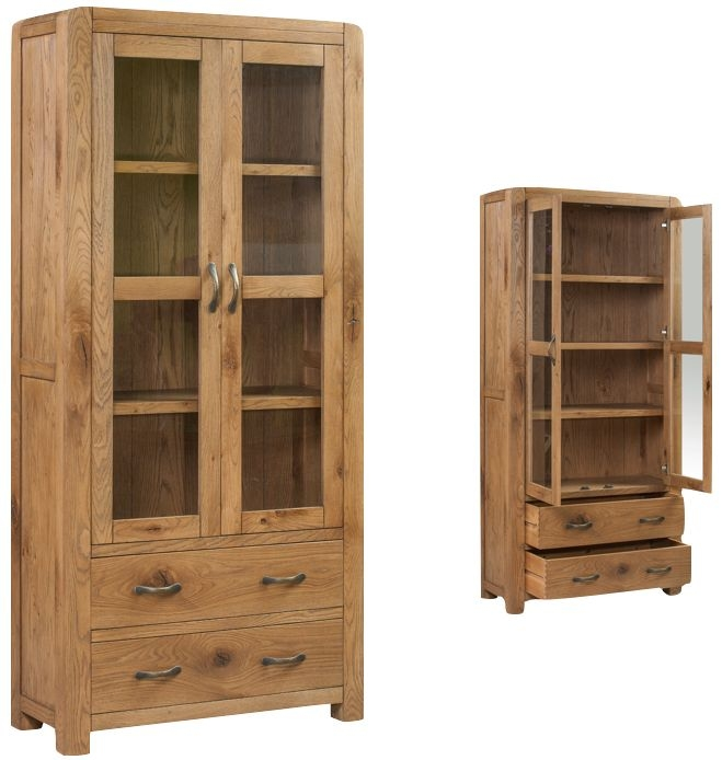 Capri Oak Large Display Cabinet