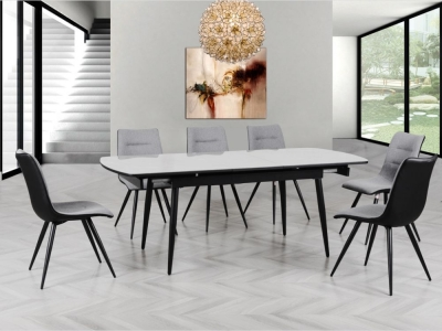 Cassino Grey Automatic Extending Dining Set with 6 Chairs