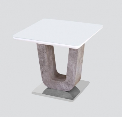 Castello End Table - White High Gloss and Natural
