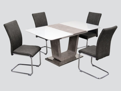 Castello Butterfly Extending Dining Table and 4 Grey Chairs - White High Gloss and Natural
