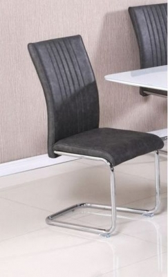 Castello Grey Faux Leather Dining Chair (Pair)