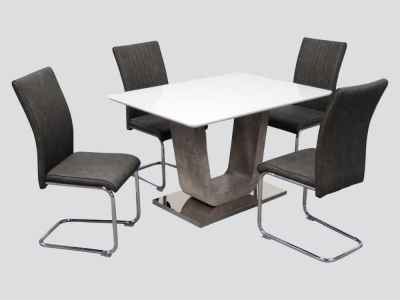 Castello Dining Table and 4 Grey Chairs - White High Gloss and Natural