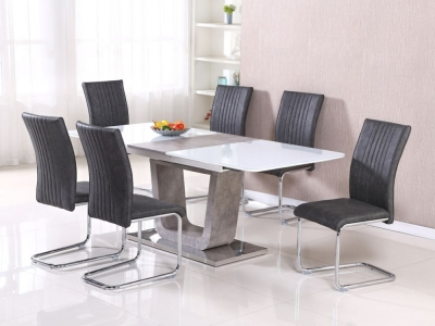 Castello Large Extending Dining Table - White High Gloss and Natural