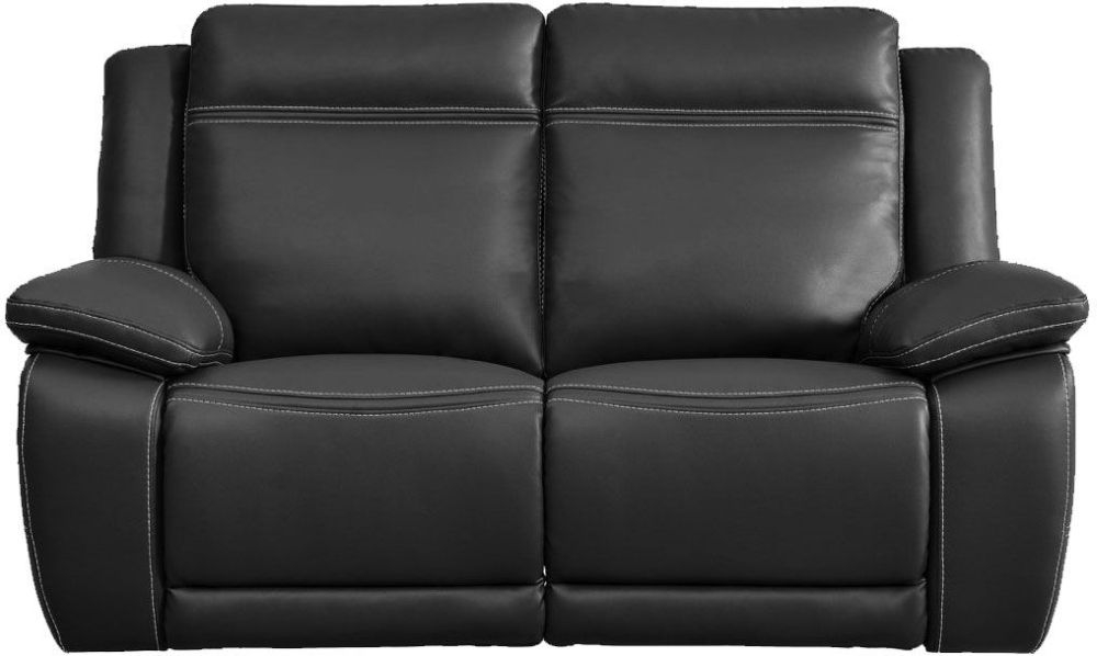 Cheshire Dark Grey Leather 2 Seater Recliner Sofa