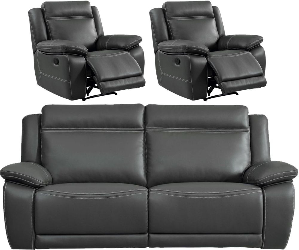 Cheshire Dark Grey Leather 3+1+1 Recliner Sofa Suite