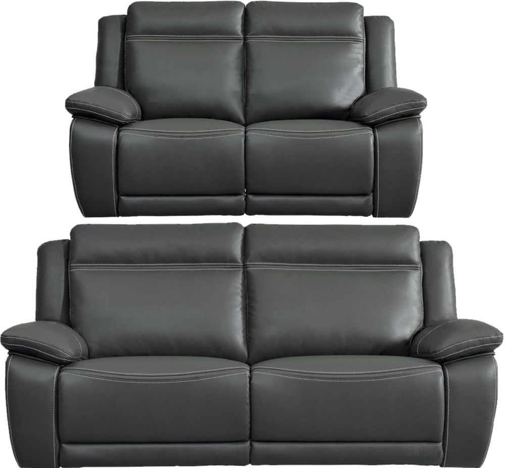 Cheshire Dark Grey Leather 3+2 Recliner Sofa Suite