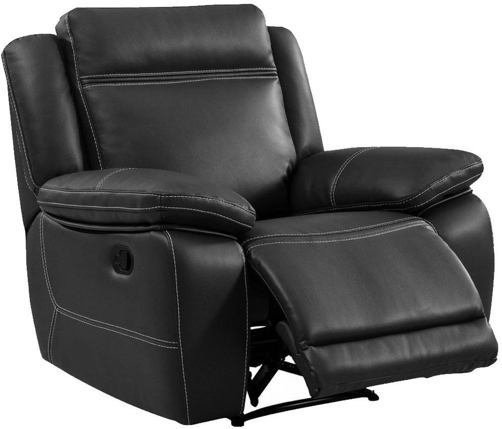 Cheshire Dark Grey Leather Recliner Armchair