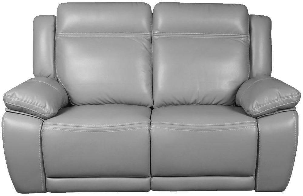 Cheshire Light Grey Leather 2 Seater Recliner Sofa