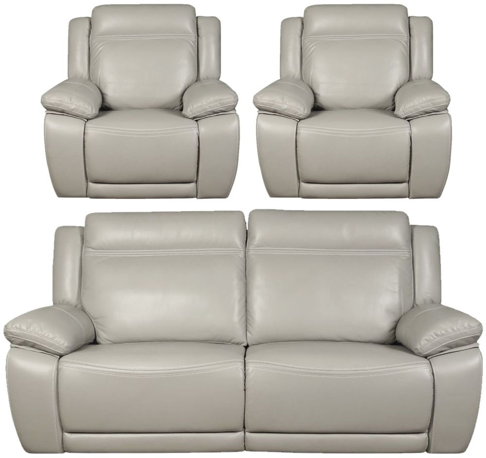 Cheshire Light Grey Leather 3+1+1 Recliner Sofa Suite