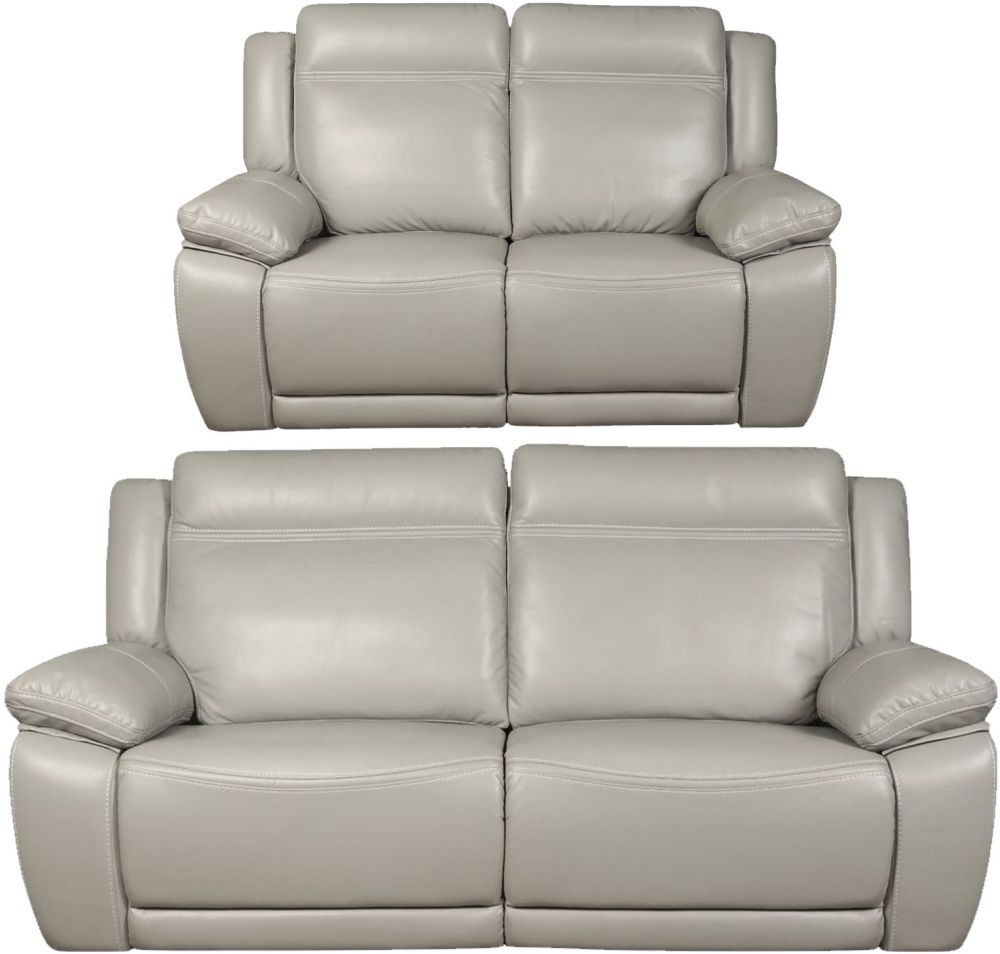 Cheshire Light Grey Leather 3+2 Recliner Sofa Suite