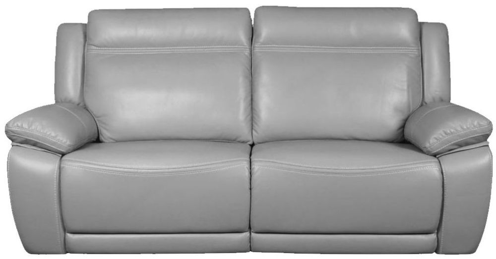 Cheshire Light Grey Leather 3 Seater Recliner Sofa