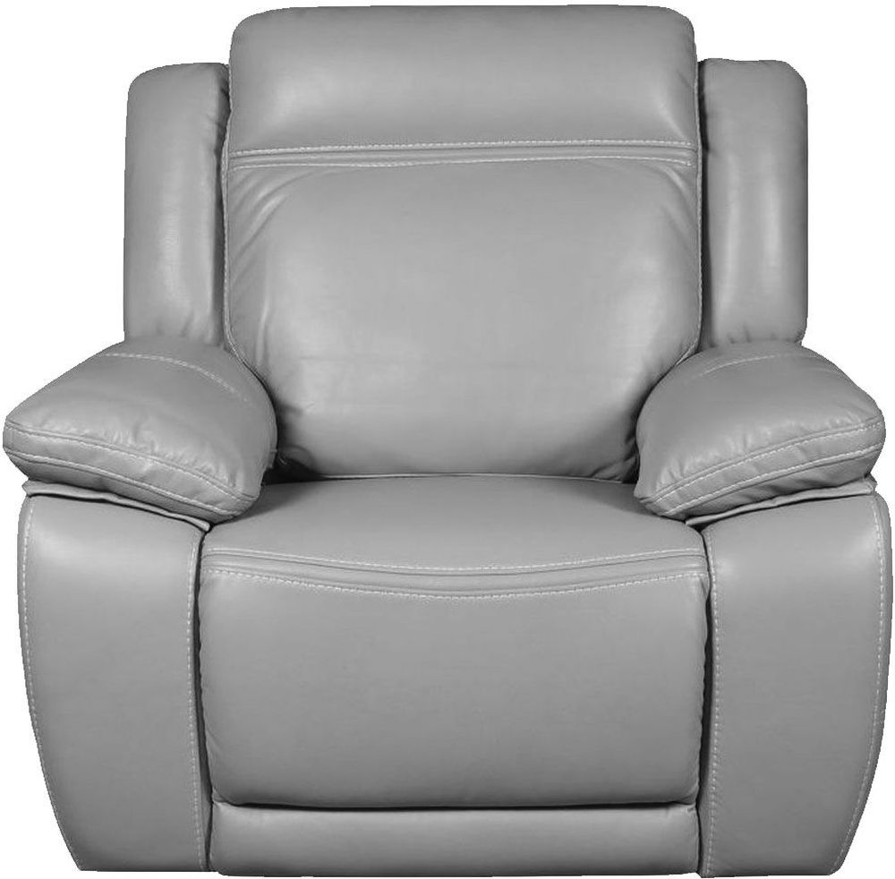 Cheshire Light Grey Leather Recliner Armchair