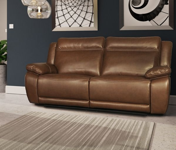 Cheshire Tan Leather 2 Seater Recliner Sofa
