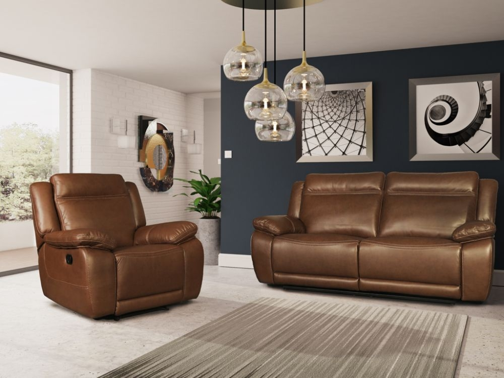 Cheshire Tan Leather 3+1 Recliner Sofa Suite